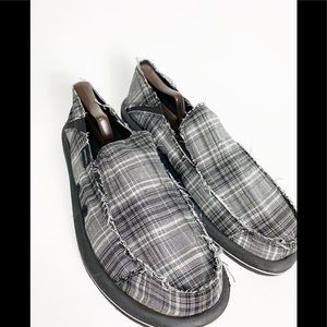 Skechers Slip On Loafers Size 11 Black Plaid